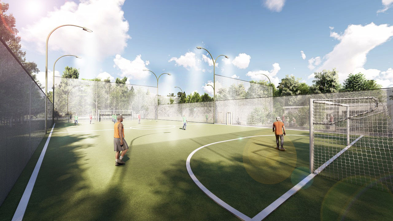 Arrangement of sports grounds in the territory of the Suputnyk park in Solomenskiy district